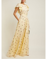 yellow floral print silk maxi gown