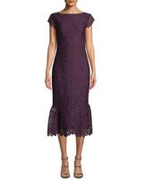 shoshanna swen purple lace flounce hem
