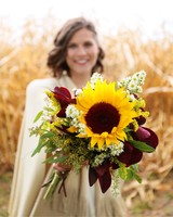 sunflower bouquet with seeded eucalyptus
