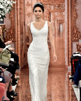 theia wedding dress spring 2019 v-neck sheath with beadwork
