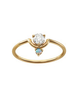 stacked engagement ring cut diamond and opal