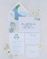 blue vintage invite with envelope flap illustration