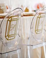 ghost chairs with diamond vinyl monogram stickers