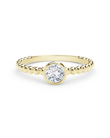 18-Karat Yellow Gold Beaded Shank Round Diamond Ring