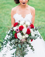 bold lipstick bride with red and white bouquet