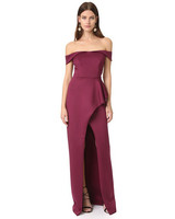 burgundy off the shoulder gown