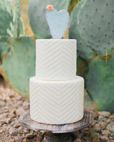 Cactus Wedding Cake Topper on White Cake
