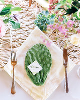 Cactus Place Card on Linen Napkin