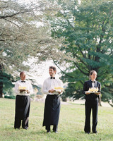 outdoor wedding reception bartenders lemonade cocktails