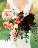 bride dahlia bouquet burgandy peach flowers