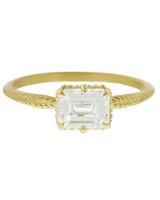 emerald cut ring thin yellow gold band