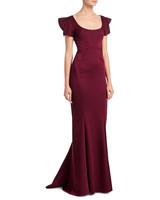 maroon flutter sleeve long gown