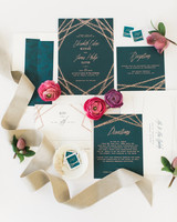 green-and-gold stationery suite