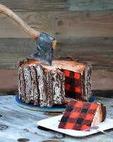 buffalo check axe log cake