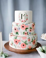 monogram floral painted cakes