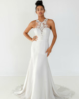 ivy aster dress fall 2018 halter trumpet sweetheart