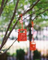 hanging red wooden lanterns