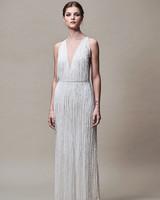 Jenny Yoo Dress Fall 2018 V Neck Sleeveless Fringe
