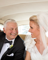 Bride and her Father in Limo