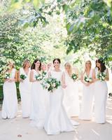 katie mike wedding bridesmaids in white
