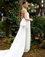 lela rose strapless wedding dress with train fall 2019