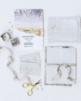 Light gray and gold foil stationery suite