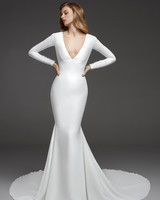 pronovias fall 2019 v-neck long sleeve trumpet wedding dress