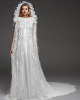 pronovias fall 2019 sheath cap sleeve fringe wedding dress