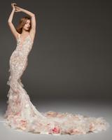 pronovias fall 2019 sheer 3D floral detail mermaid wedding dress