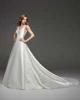 pronovias fall 2019 v-neck spaghetti strap ball gown wedding dress