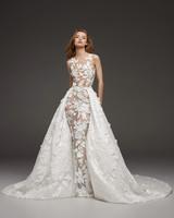 pronovias fall 2019 sheer illusion high neckline overskirt wedding dress