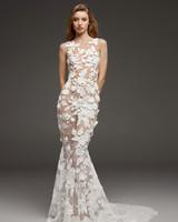 pronovias fall 2019 sheer illusion high neckline mermaid wedding dress