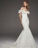 pronovias fall 2019 3D floral detail mermaid wedding dress