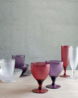 red kinto rosette wine glasses