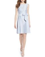 anne klein baby blue sleeveless shadow stripe dress