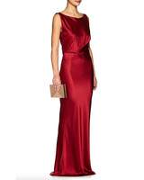 silky red gown