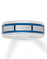 silver and blue geometric wedding band