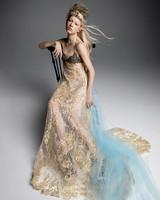 vera wang wedding dress black bust blue tulle accent