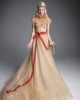 vera wang wedding dress champagne corseted bodice red sash