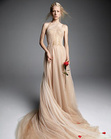 vera wang wedding dress champagne wrapped tulle halter a-line