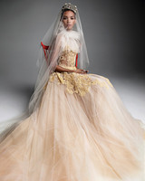 vera wang wedding dress champagne ball gown gold embroidery