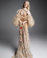 vera wang wedding dress sheer champagne gold big tulle sleeves