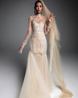vera wang wedding dress illusion neck long-sleeved overlay