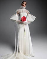 vera wang wedding dress strapless long-sleeved arm accents