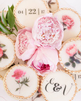 round gold frosted trim wedding cookies