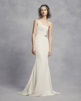 white vera wang spring 2019 wedding dress sheath one shoulder