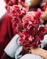 yolana douglas wedding burgandy bouquets