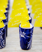 alcohol escort cards calligraphed lemon cards on glasses