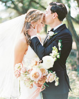 amanda chuck wedding couple forehead kiss under the trees