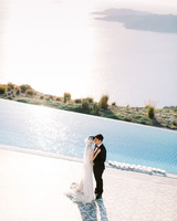 angie prayogo greece wedding couple by pool